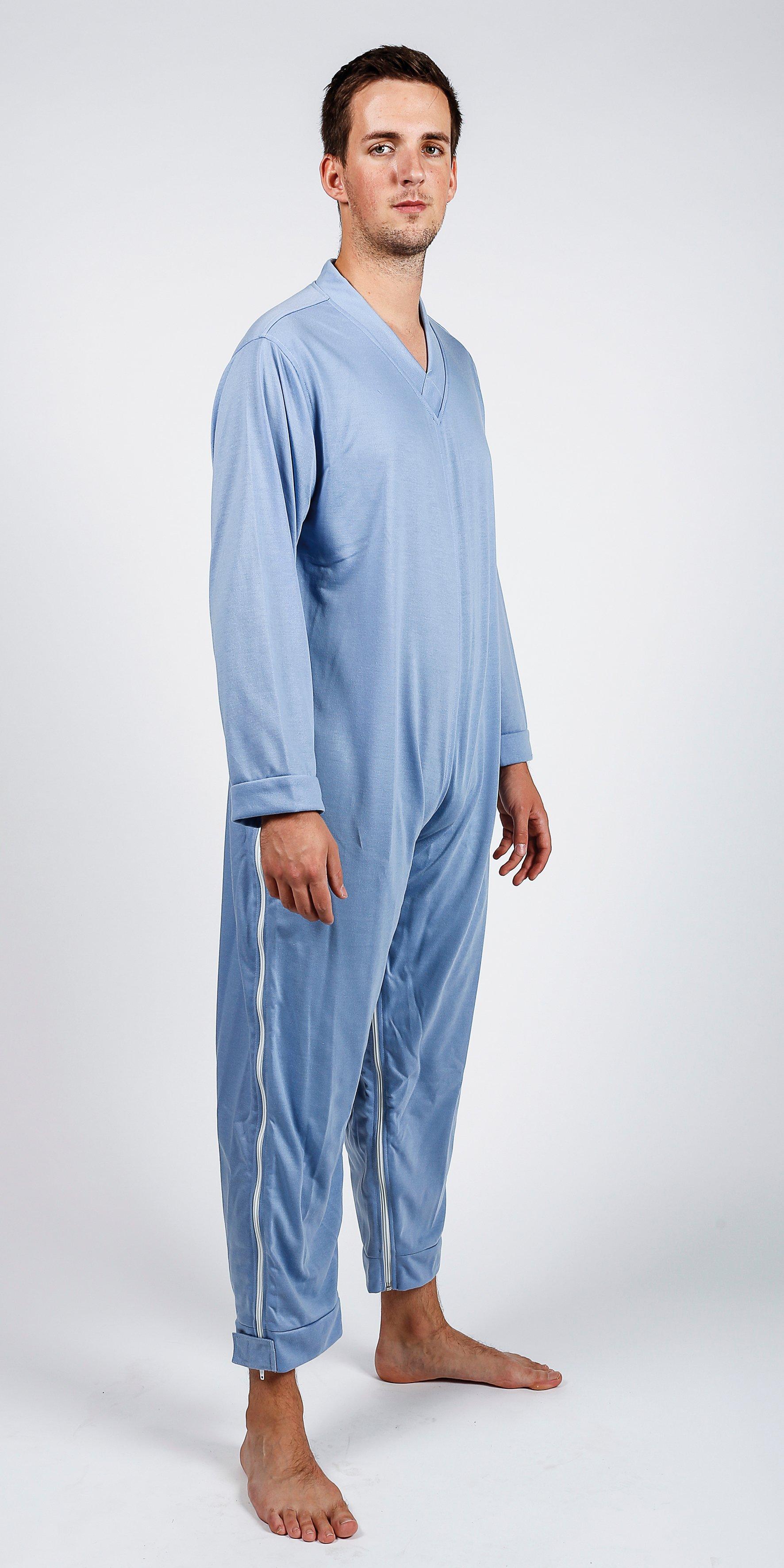 Verpleegpyjama (plukpak) met benen- en zijrits S258B