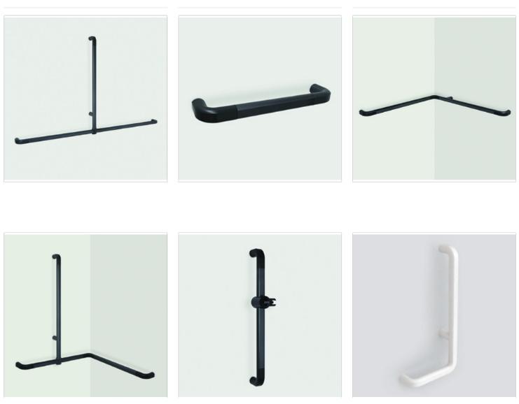 PBA Handgrepen recht / gehoekt assortiment (aluminium)